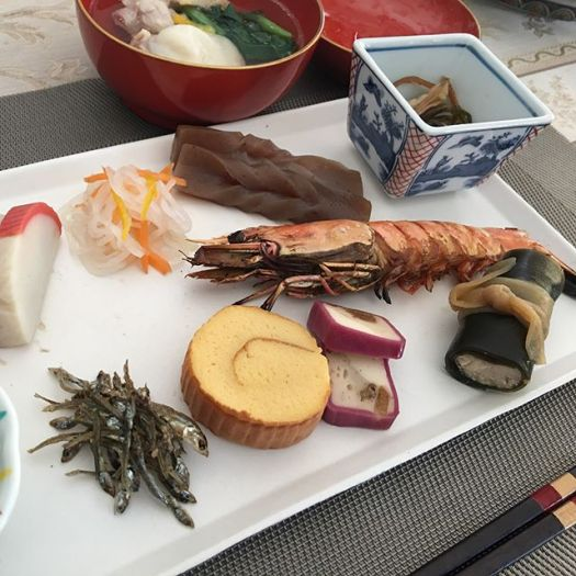 Happy New Year ️️Japanese New Year dish is called #osechi : This is more light than typical #osechi with seafood and #mochi