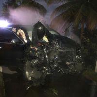 Mark B, manager y chofer ilesos tras aparatoso accidente