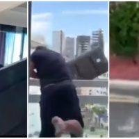 VIDEO: Cristian Casablanca lanza televisor desde edificio y genera repudio