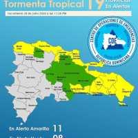 En alerta 19 provincias y el Distrito Nacional por tormenta