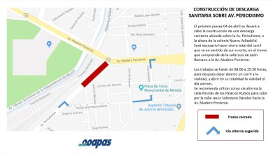 Se cerrará la circulación en el tramo entre Luis de León Romano y Avenida Madero Poniente
