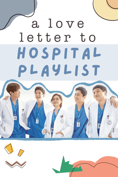 hospital playlist picture of main cast with decorative doodles