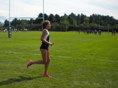 Notice closely but here I am running a cross country course in spikes with no socks.