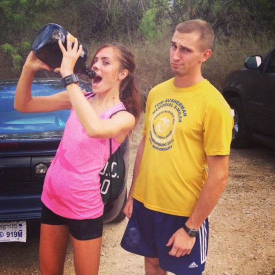 Winning a growler at a half marathon in Texas