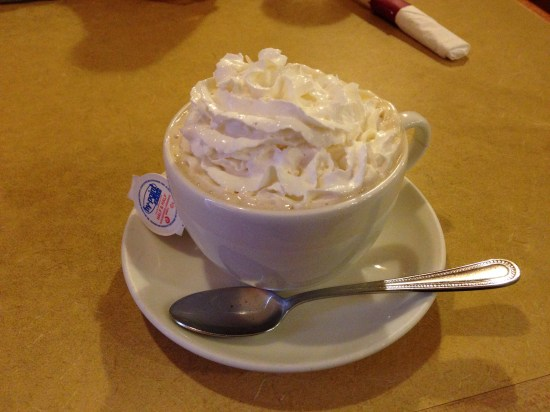 "I like having Irish coffee because then it's ""normal"" to have whipped cream in it..."