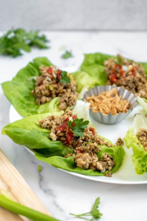 healthy vegan tofu lettuce cups