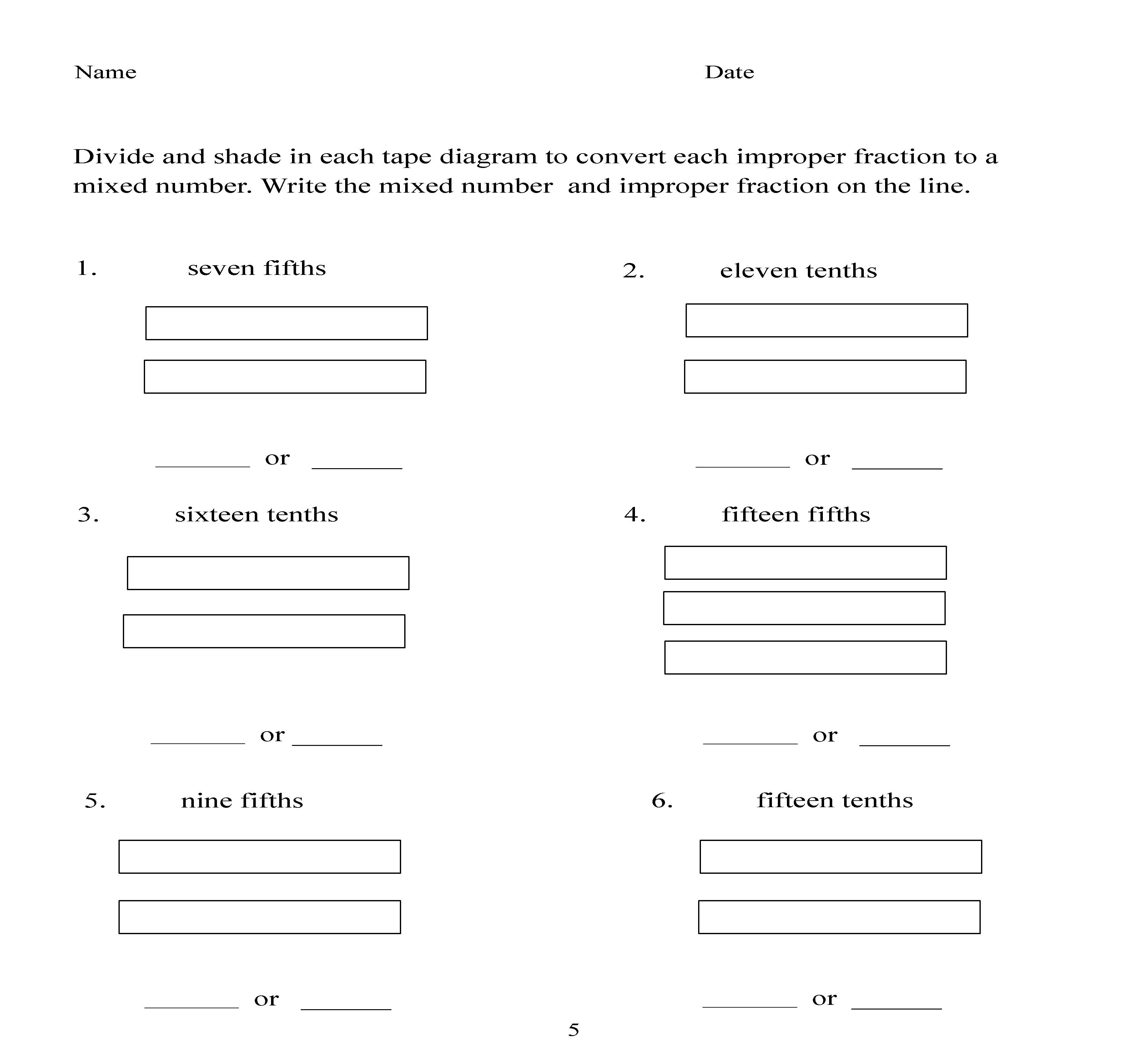 Worksheet Mixed Number And Improper Fraction Worksheets