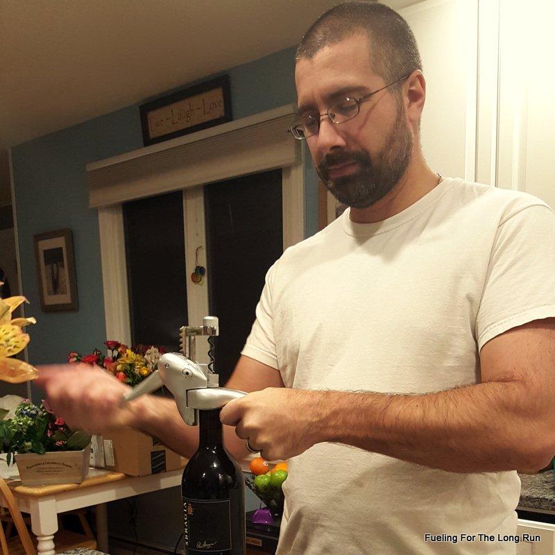 Mark popping bottles.
