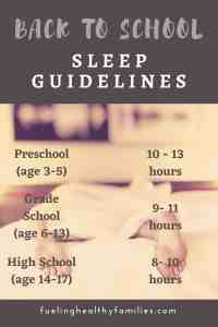 Healthy School Year Sleep Guidelines