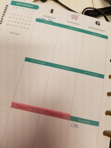Happy Planner with washi tape & grocery stickers