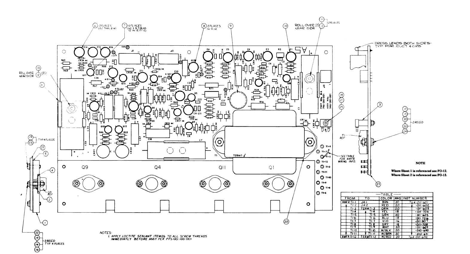 Fo 12 Circuit Board A 5 Component Location Diagram For Test Set Fuel Quantity Gage Capacitance