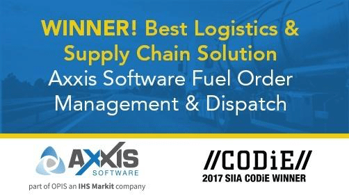 Axxis Fuel Order Management & Dispatch Wins the CODiE Award