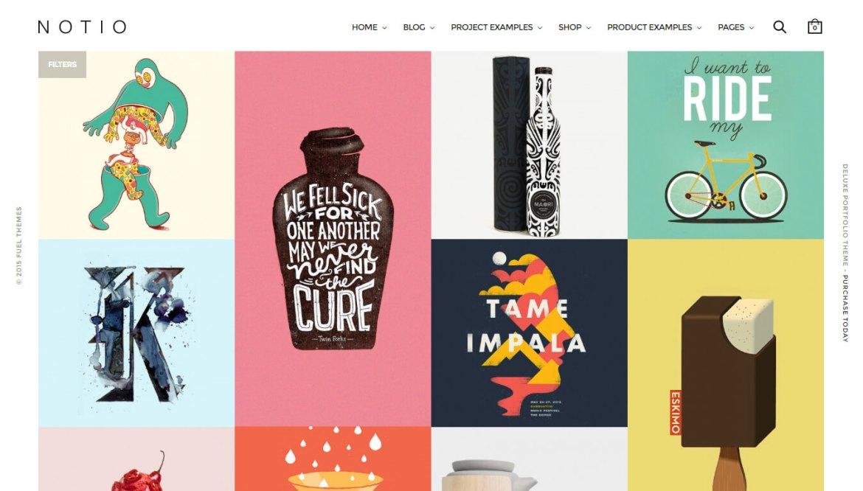 WordPress portfolio themes: Notio