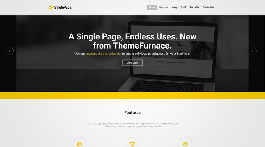 WordPress One Page Themes: Single Page