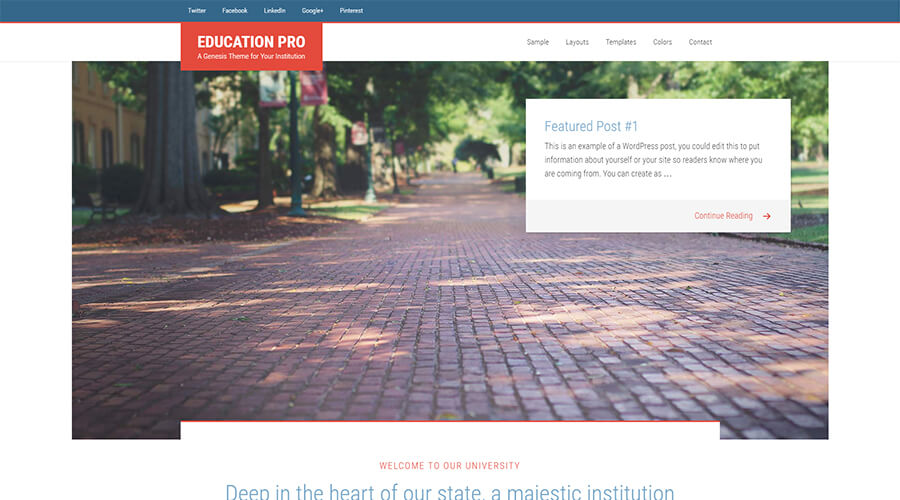 WordPress Education Themes: Education Pro