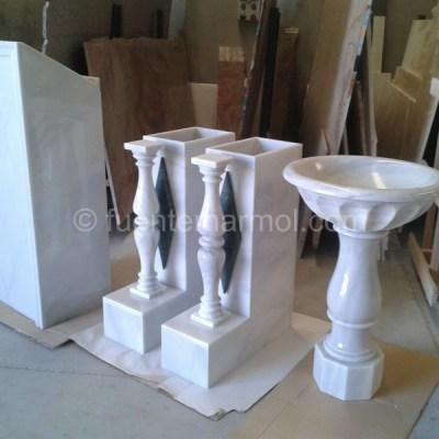 columna y fuente blanco macael