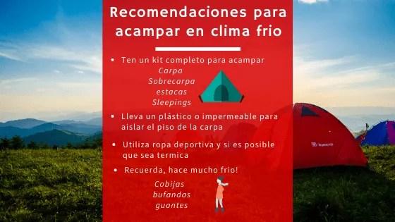Recomendaciones para acampar suesca