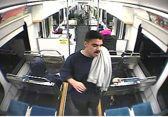 Survaillance image of alleged suspect on Light Rail