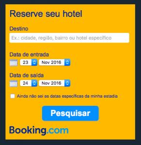 Caixa de pesquisa do Booking.