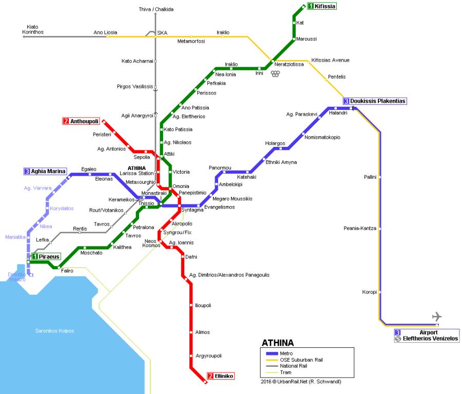 Mapa linhas de trem de Atenas