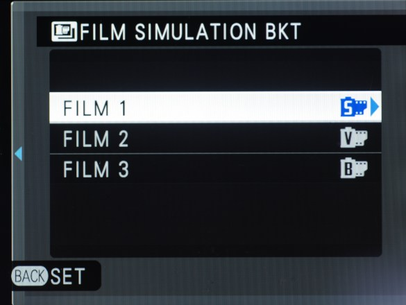 Setting up Film Simulation Bracketing