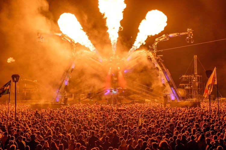 Arcadia bursts into life as revelers enjoy the Friday night atmosphere at Glastonbury Festival on Worthy Farm, Somerset. After a deluge of rain, the sun broke through for the headliners. June 26 2015.