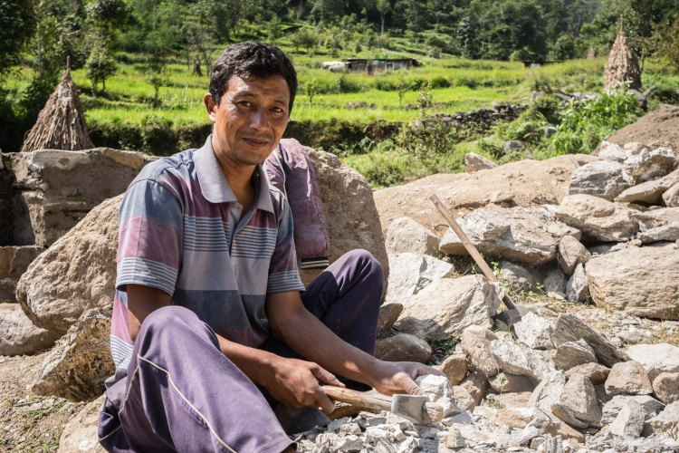 Rebuilding the health post in Lakuri Danda, Dolakha, Nepal. Dolakha district is one of the hardest hit April 25th Nepal earthquake disaster zones in Nepal.