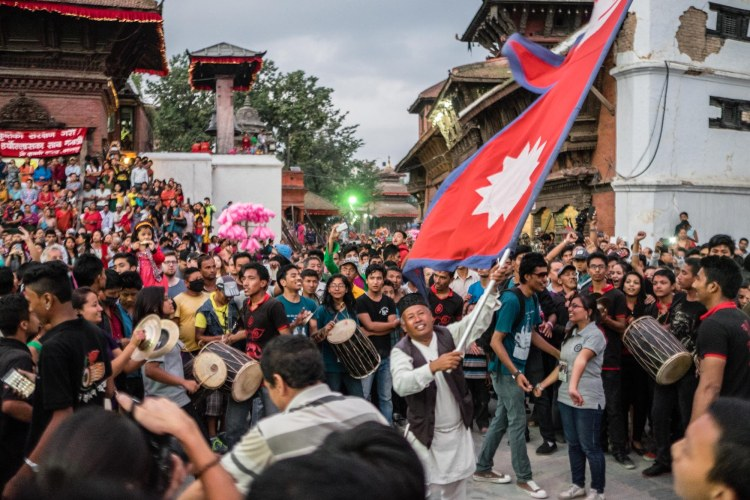 Celebrating Indra Jatra Festival, Kathmandu Durbar Square, Kathmandu, Nepal.