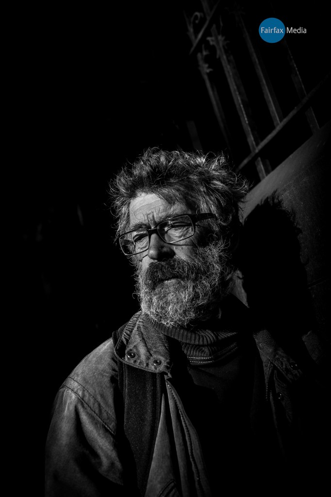 """Melbourne, Australia. From """"Streeties' a series on Melbournes homeless. The series aims to present Melbournes homeless as dignified, 'real' people as opposed to the generalised view that they are a stain on society. Some have mental issues some have been successful business people who have fallen on hard times. Some also have drug dependancy issues but all are human beings and deserving of a 'fair go'. Asha, 62 from Camperdown has been on the streets for 13 years. A writer and poet he sees his street life as a lifestyle always """"living a nomadic life"""" He is worried that the recent attention on the homeless will overlook the bigger issues and he hopes that """"the government see through the individuals and support worthwhile programs such as the soup kitchen"""". Photograph by Chris Hopkins"""