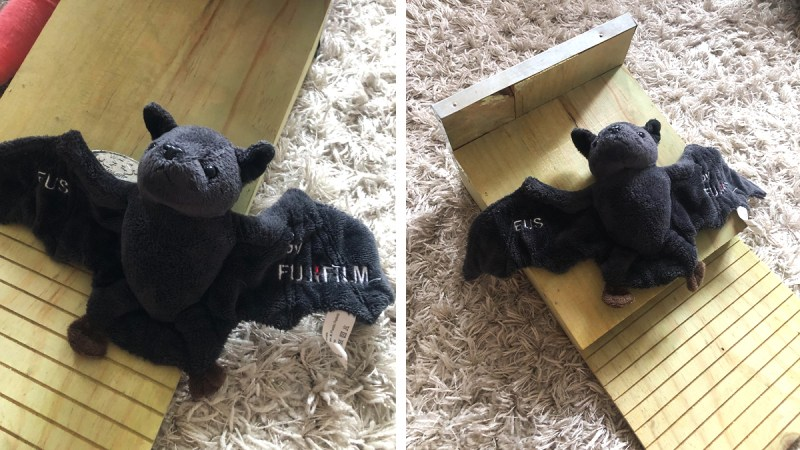 """The Fujifilm family's fluffy bat mascot """"EUS"""" explored the wooden nesting box prepared for its friends living outdoors by one of our Fujifilm colleagues."""