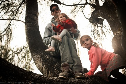 Snowboarder Jack Cornish with his daughters