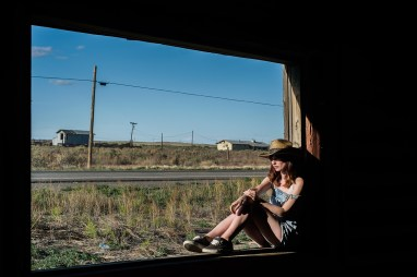 The narrative of the Wild West is in the fabric of abandoned buildings, and telegraph poles. Arielle sits in the window of a derelict frontier house on the old Route 66. The old road was replaced with a six lane highway just 100m behind us. XF35mm f/1.4 at f/8