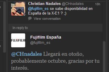 Fujifilm en twitter confirma la llegada de la XE1 en Otoño