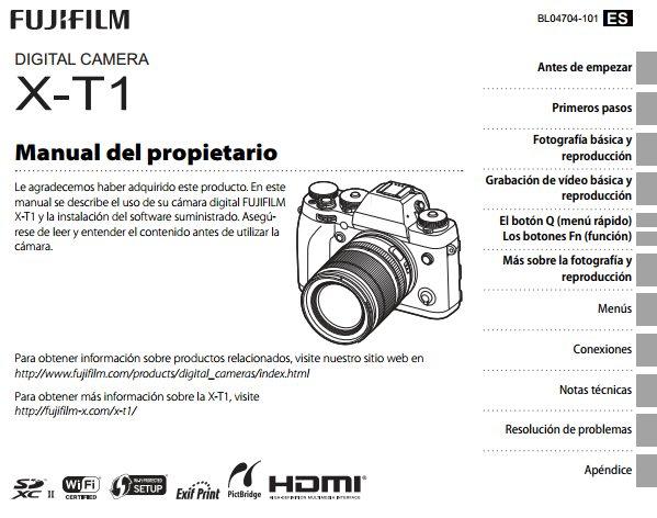manual español Fuji X-T1