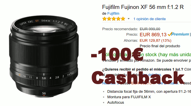 Fujinon Xf 56mm F1.2 descuento en Amazon