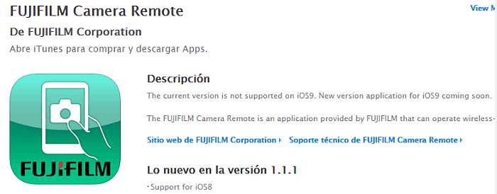 Compatibilidad de Fujifilm Camera Remote con iOS 9