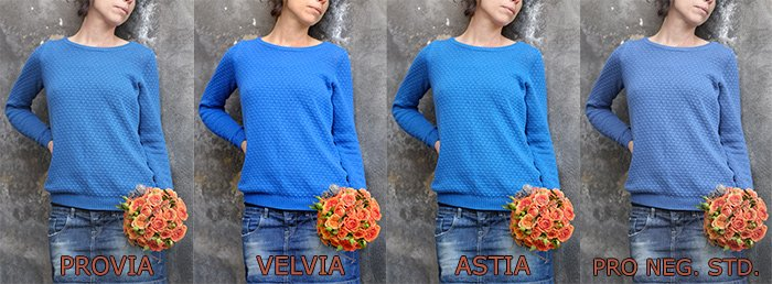 Modos de simulación Provia, Velvia, Astia.