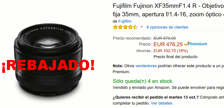 Fujinon XF 35mm f/1.4 R rebajado en Amazon.