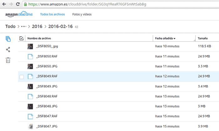 Vista de la interfaz de visualización de carpetas y archivos en Amazon Cloud Drive.