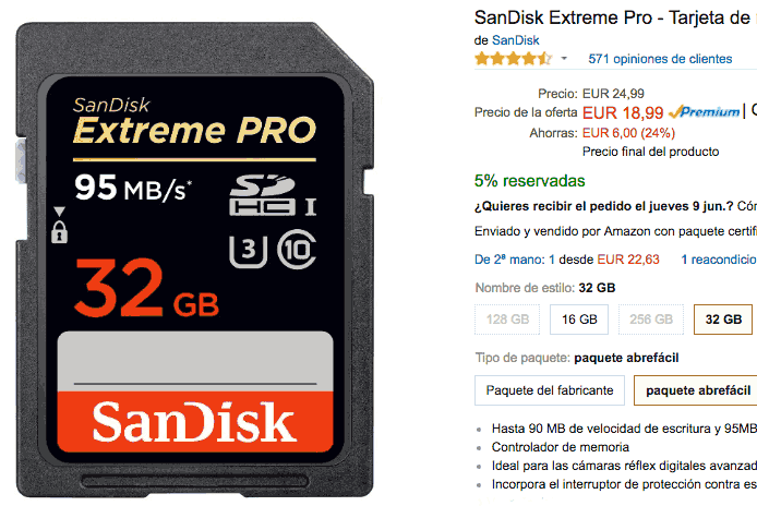 Oferta por Sandisk Extreme Pro 32 GB.