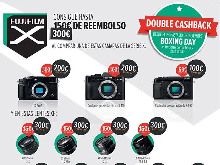 Doble cashback de Fujifilm de diciembre de 2016.