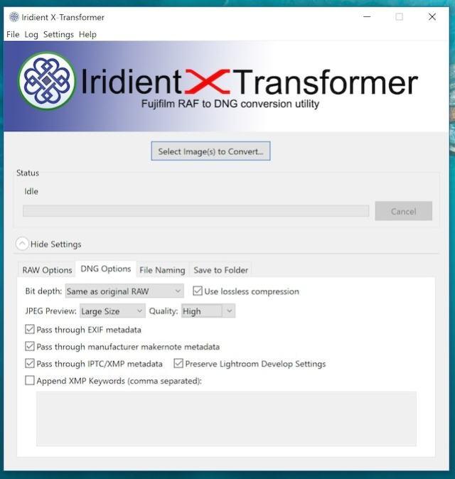 Opciones de exportación a DNG en Iridient X Transformer, desde Fujirumors.