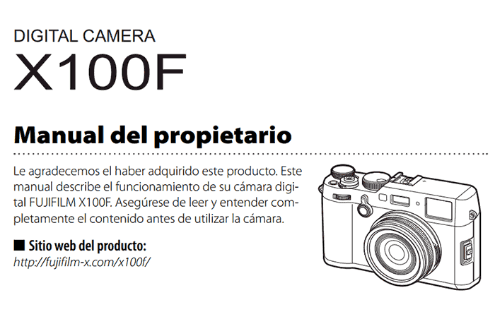 Manual de la Fujifilm X100F.