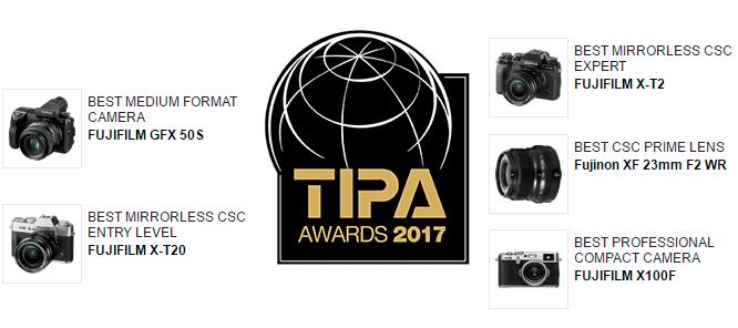 Premios TIPA 2017 para Fujiifilm.