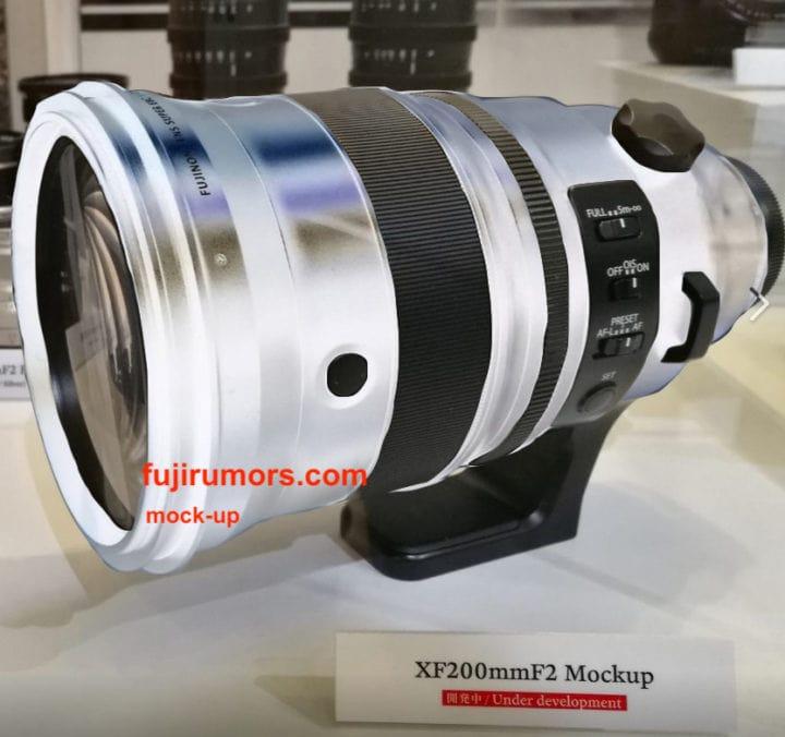 Fujinon XF 200mm F2 blanco. Montaje de Fujirumors.