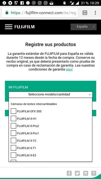 Registro de productos en garantía en Fujifilm Connect a través del smartphone.