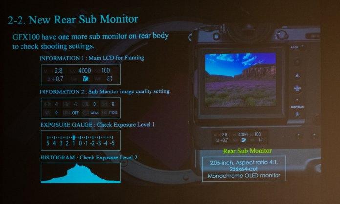 Funciones de la pantalla auxiliar inferior de la GFX 100.