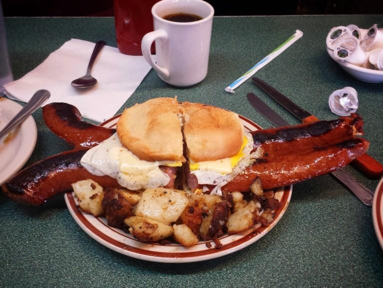 Carl's Oxford Diner Kielbasa Breakfast Sandwich