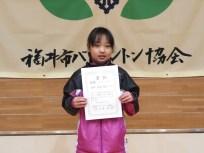 2年女子優勝 田中 美羽(足羽)