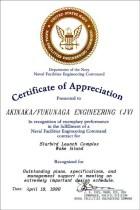 1990 NAVFAC Certificate of Appreciation